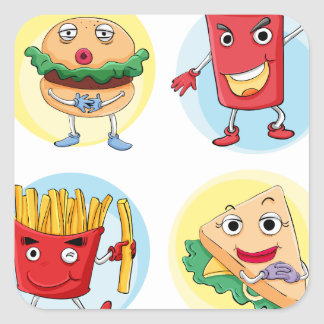 various food square sticker