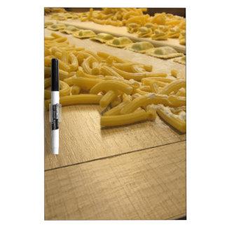 Various mix of fresh italian homemade pasta dry erase board