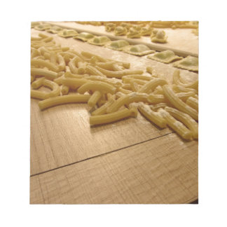 Various mix of fresh italian homemade pasta notepad