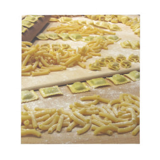 Various mix of fresh italian homemade pasta notepads