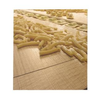 Various mix of fresh italian homemade pasta notepads
