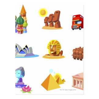 Various monuments of world postcard