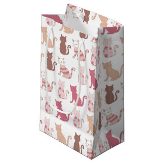 Various Multicolored Cat Silhouette Small Gift Bag
