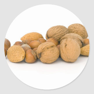 Various Nuts Including Hazelnuts Walnuts And Almon Classic Round Sticker