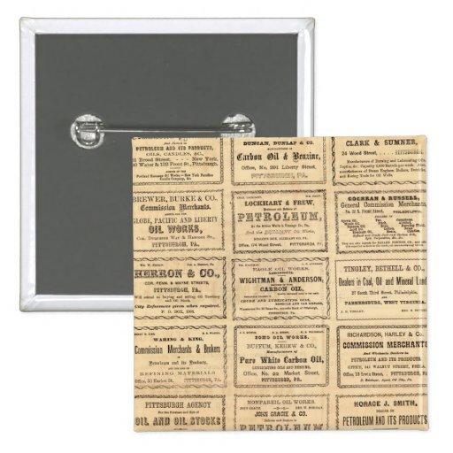Various oil advertisements pinback button