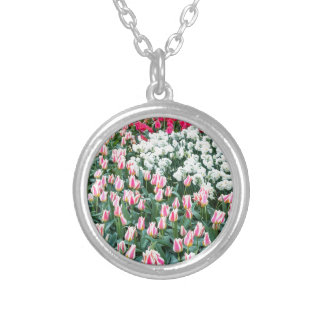 Various red tulips and white daffodils silver plated necklace