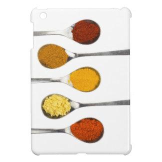 Various seasoning spices on metal spoons iPad mini cover