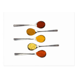 Various seasoning spices on metal spoons postcard