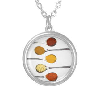 Various seasoning spices on metal spoons silver plated necklace