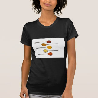 Various seasoning spices on metal spoons T-Shirt