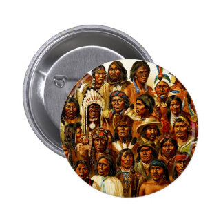 Various Tribes of Native American Indians Collage 2 Inch Round Button