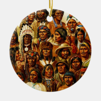Various Tribes of Native American Indians Collage Ceramic Ornament