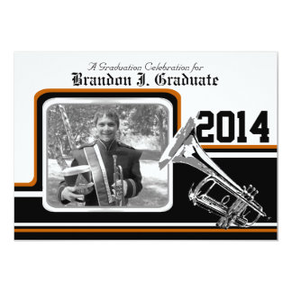 Varsity Band Trumpet Graduation Photo Orange Card