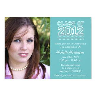 "Varsity Class Of 2012 Graduation (Turquoise) 5"" X 7"" Invitation Card"