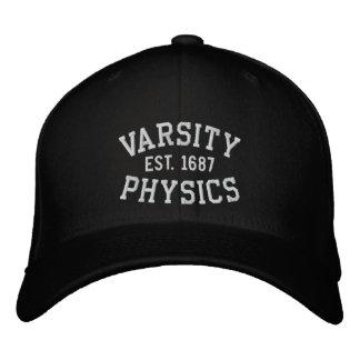 VARSITY, PHYSICS, EST. 1687 black and white Embroidered Baseball Cap