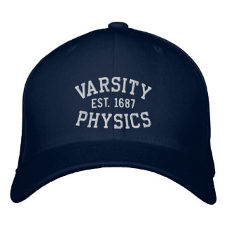 VARSITY, PHYSICS, EST. 1687 blue and white Embroidered Hat
