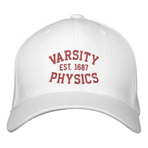 VARSITY, PHYSICS, EST. 1687 red and white Embroidered Hats