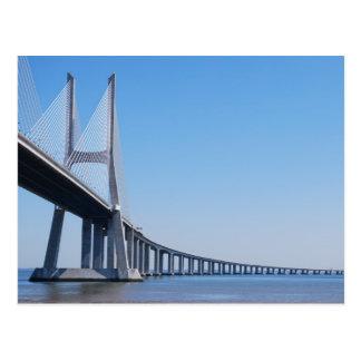 Vasco da Gama Bridge over River Tagus in Lisbon Postcard