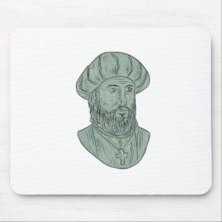 Vasco da Gama Explorer Bust Drawing Mouse Pad