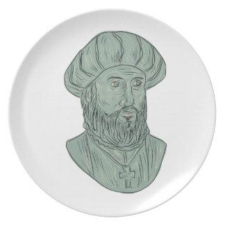 Vasco da Gama Explorer Bust Drawing Plate