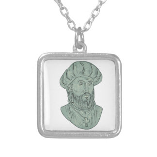 Vasco da Gama Explorer Bust Drawing Silver Plated Necklace