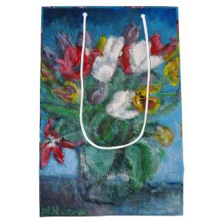 Vase à bouquet de tulipes dans la chambre bleue sac cadeau medium