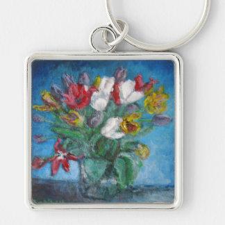 Vase à fleurs de tulipe dans la chambre bleue porte-clé carré argenté