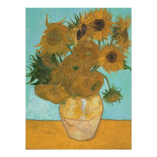 Vase avec 12 tournesols par la fleur de cru de Van Affiche