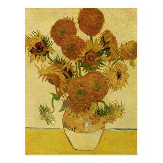 Vase avec quinze tournesols, beaux-arts de Van Carte Postale