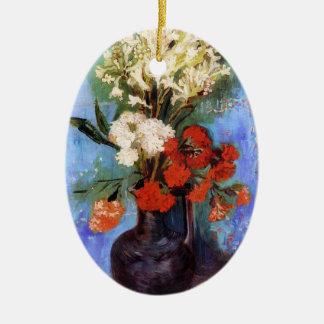 Vase Carnations Other Flowers Vincent van Gogh Ceramic Oval Ornament