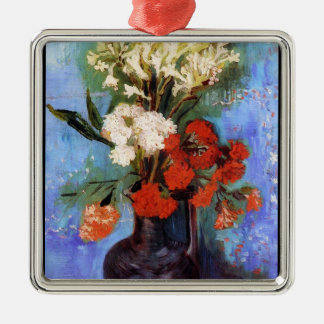 Vase Carnations Other Flowers Vincent van Gogh Silver-Colored Square Ornament