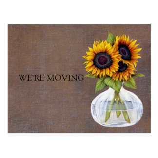 Vase of Beautiful Sunflowers Change of Address Postcard