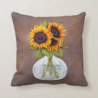 Vase of Beautiful Sunflowers on Brown Rustic Throw Pillow