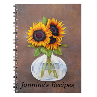 Vase of Beautiful Sunflowers on Rustic Brown Notebook