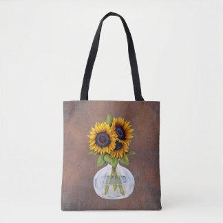 Vase of Beautiful Sunflowers on Rustic Brown Tote