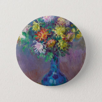 Vase of Chrysanthemums Claude Monet 2 Inch Round Button