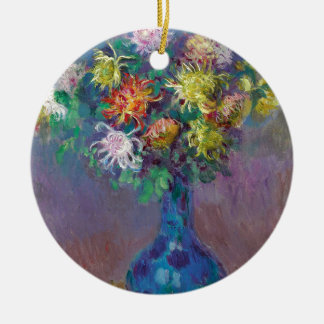 Vase of Chrysanthemums Claude Monet Ceramic Ornament