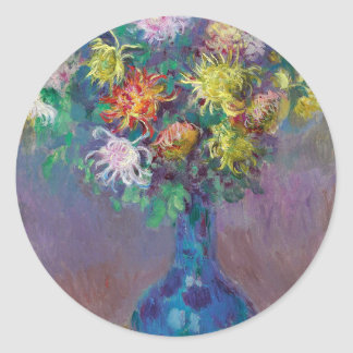 Vase of Chrysanthemums Claude Monet Classic Round Sticker