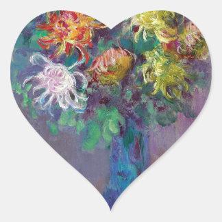 Vase of Chrysanthemums Claude Monet Heart Sticker