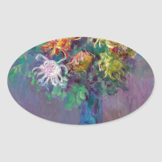 Vase of Chrysanthemums Claude Monet Oval Sticker