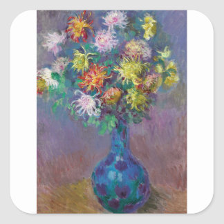 Vase of Chrysanthemums Claude Monet Square Sticker