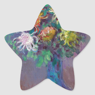 Vase of Chrysanthemums Claude Monet Star Sticker