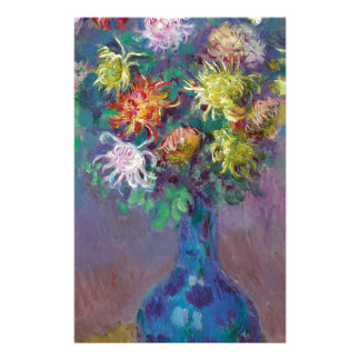 Vase of Chrysanthemums Claude Monet Stationery