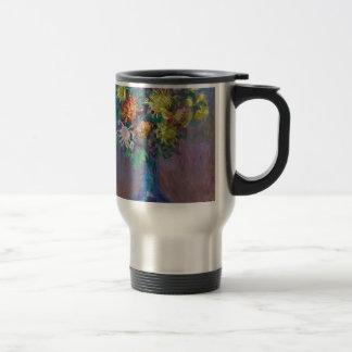 Vase of Chrysanthemums Claude Monet Travel Mug