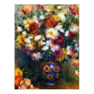 Vase of Chrysanthemums Fine Art by Renoir Postcard