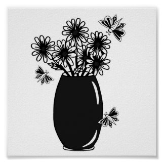vase of daisies with butterflies poster