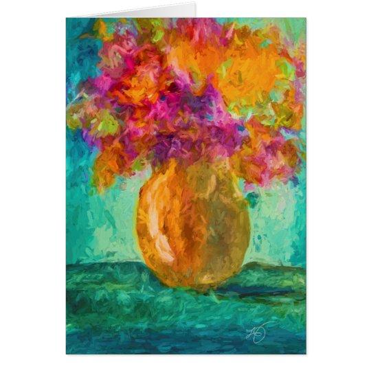 Vase of Flowers Blank Greeting Card