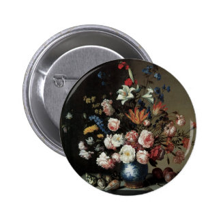 Vase of Flowers by a Window, Balthasar van der Ast 2 Inch Round Button
