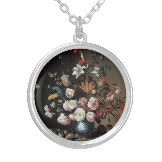 Vase of Flowers by a Window, Balthasar van der Ast Silver Plated Necklace
