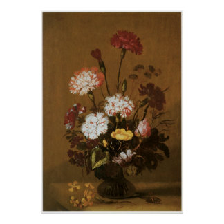 Vase of Flowers in Brown Poster
